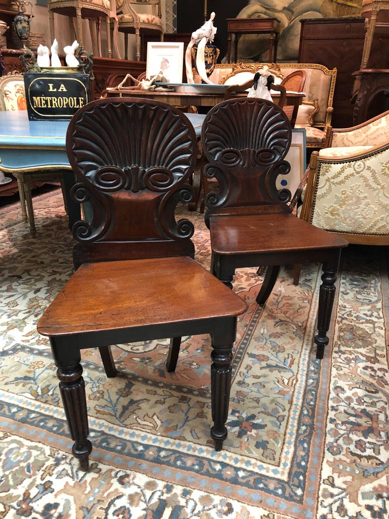 19th century English Regency mahogany hall chairs in the manner of Gillows, each with a scroll and shell carved back, on turned and ribbed front legs. Very good condition. England, circa 1820.