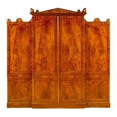 19th Century English Regency Inlaid Mahogany Breakfront Cabinet
