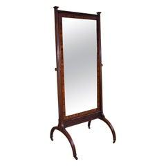 19th Century English Regency Mahogany Cheval Mirror