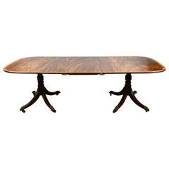 19th Century English Regency Mahogany Pedestal Dining Table