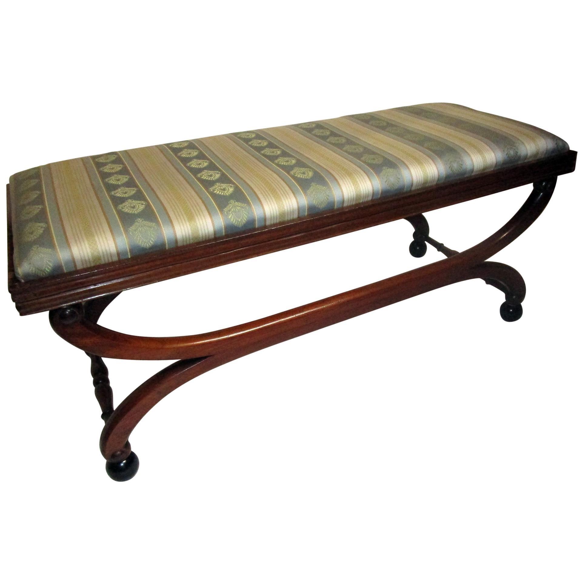 19th century English Regency Mahogany Scroll Form Bench