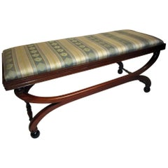 19th century English Regency Mahogany Scroll Form Bench