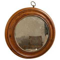 19th Century English Regency Miniature Round Walnut Mirror