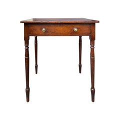 19th Century English Regency Oak Table with One Drawer