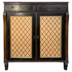 19th Century English Regency Painted Cabinet with Two Drawers and Two Doors