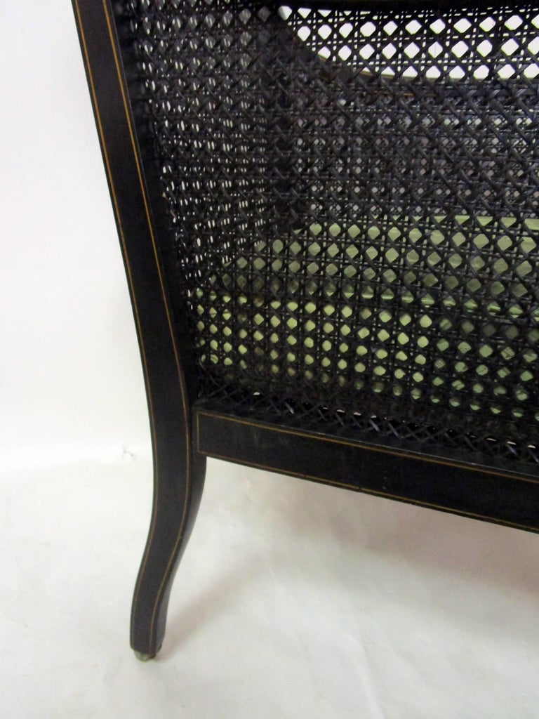 19th Century English Regency Bergere Chair Painted Ebonized Wood and Cane  For Sale 5