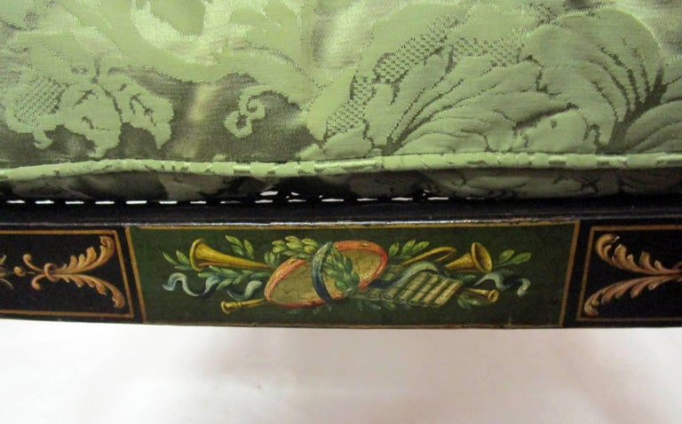19th Century English Regency Bergere Chair Painted Ebonized Wood and Cane  In Good Condition For Sale In Savannah, GA