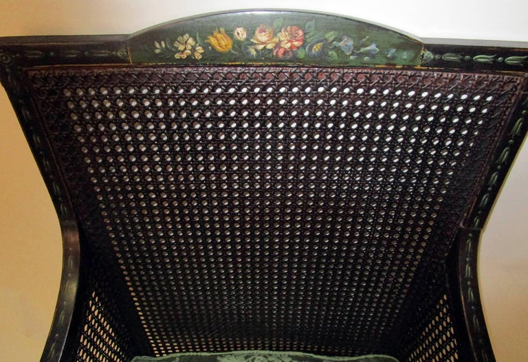 19th Century English Regency Bergere Chair Painted Ebonized Wood and Cane  For Sale 1