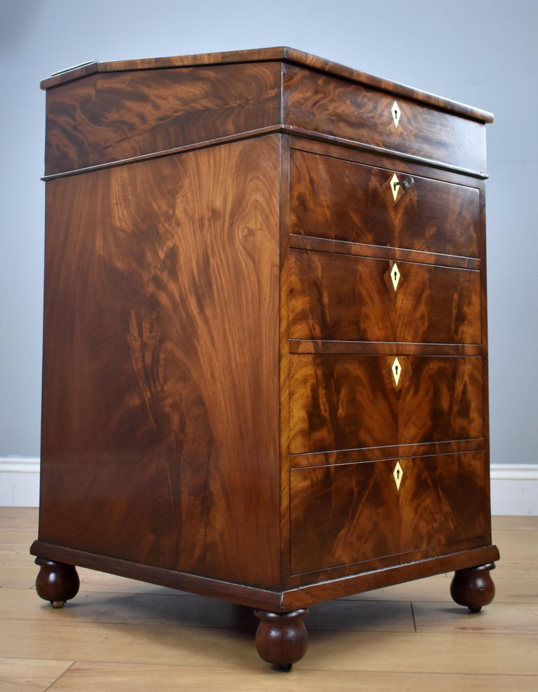 19th Century English Regency Period Flame Mahogany Davenport Desk by Wilkinson For Sale 10