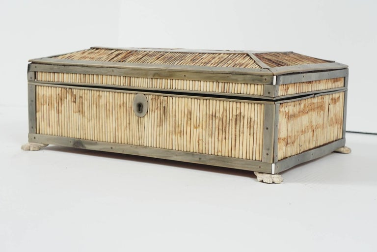 Indian 19th Century English Regency Period Horn, Quill and Bone Dressing Box For Sale