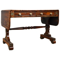 19th Century English Regency Period Rosewood and Brass Inlaid Sofa Table
