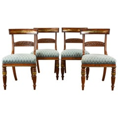 19th Century English Regency Pollard Oak and Brass Inlaid Dining Chairs
