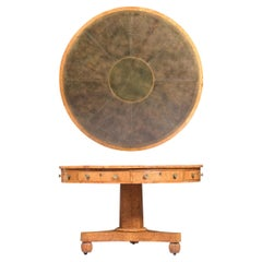 19th Century English Regency Pollard Oak Centre/Drum Table Attributed to Gillows