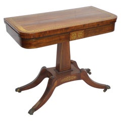 19th Century English Regency Rosewood and Brass Inlaid Card Table
