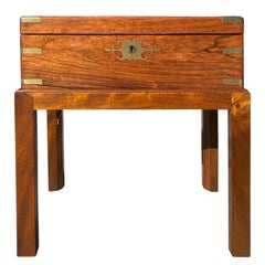 19th Century English Regency Rosewood Lap Desk with Inkwell, Custom Stand