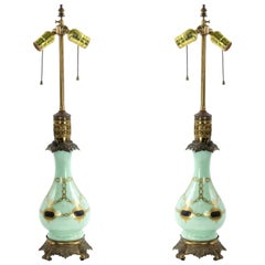 19th Century English Regency Style Celadon Glass Table Lamps