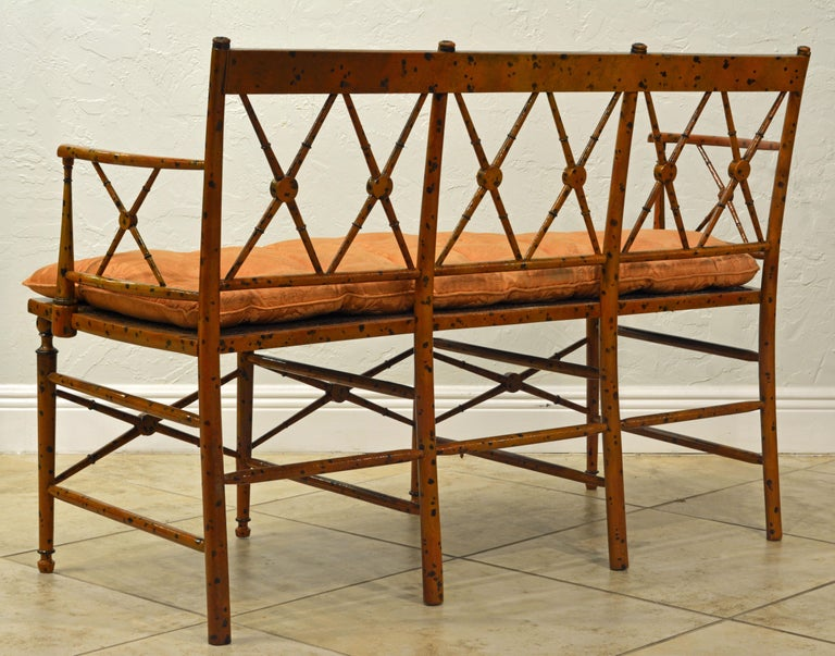 19th Century English Regency Style Painted Faux Bamboo Cane Seat Settee In Good Condition For Sale In Ft. Lauderdale, FL
