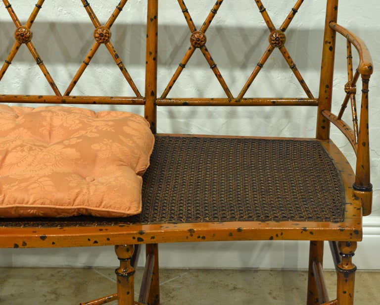 Wood 19th Century English Regency Style Painted Faux Bamboo Cane Seat Settee For Sale