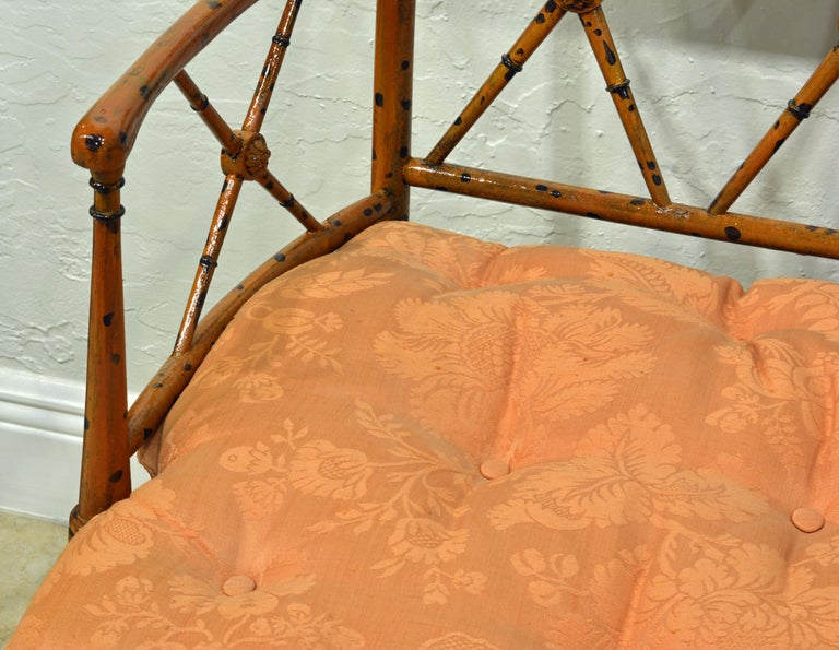 19th Century English Regency Style Painted Faux Bamboo Cane Seat Settee For Sale 1