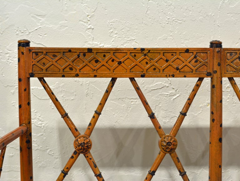 19th Century English Regency Style Painted Faux Bamboo Cane Seat Settee For Sale 2