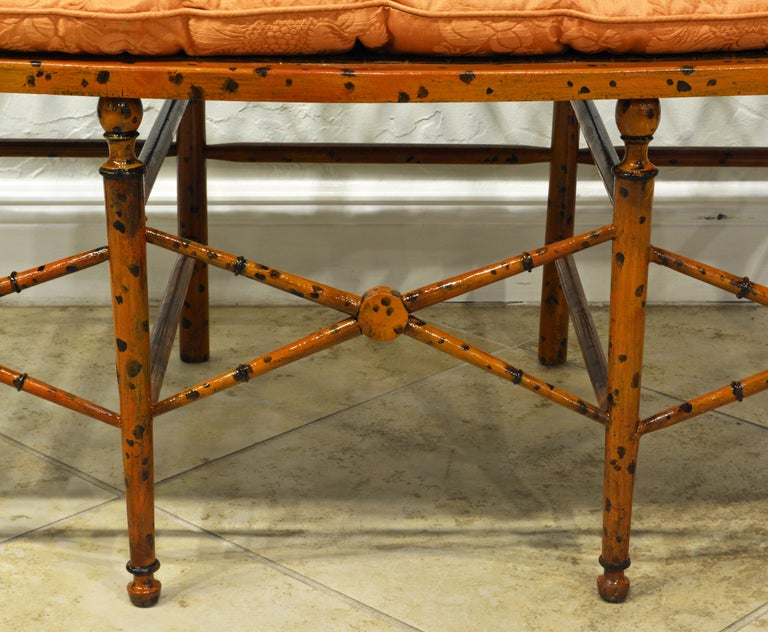 19th Century English Regency Style Painted Faux Bamboo Cane Seat Settee For Sale 3