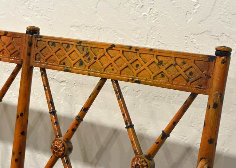 19th Century English Regency Style Painted Faux Bamboo Cane Seat Settee For Sale 4