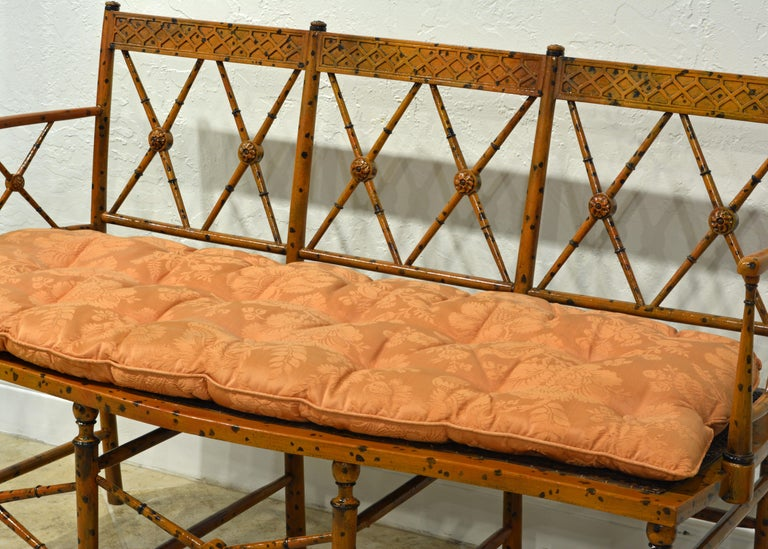 19th Century English Regency Style Painted Faux Bamboo Cane Seat Settee For Sale 5
