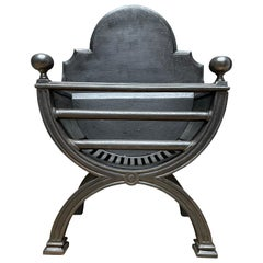 19th Century English Regency Style Polished Cast Iron Fire Grate