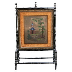 19th Century English Regency Style Screen in Ebonized Wood with Pearl Embroidery