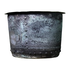 19th Century English Riveted Copper Verdigris Vat Vessel Planter
