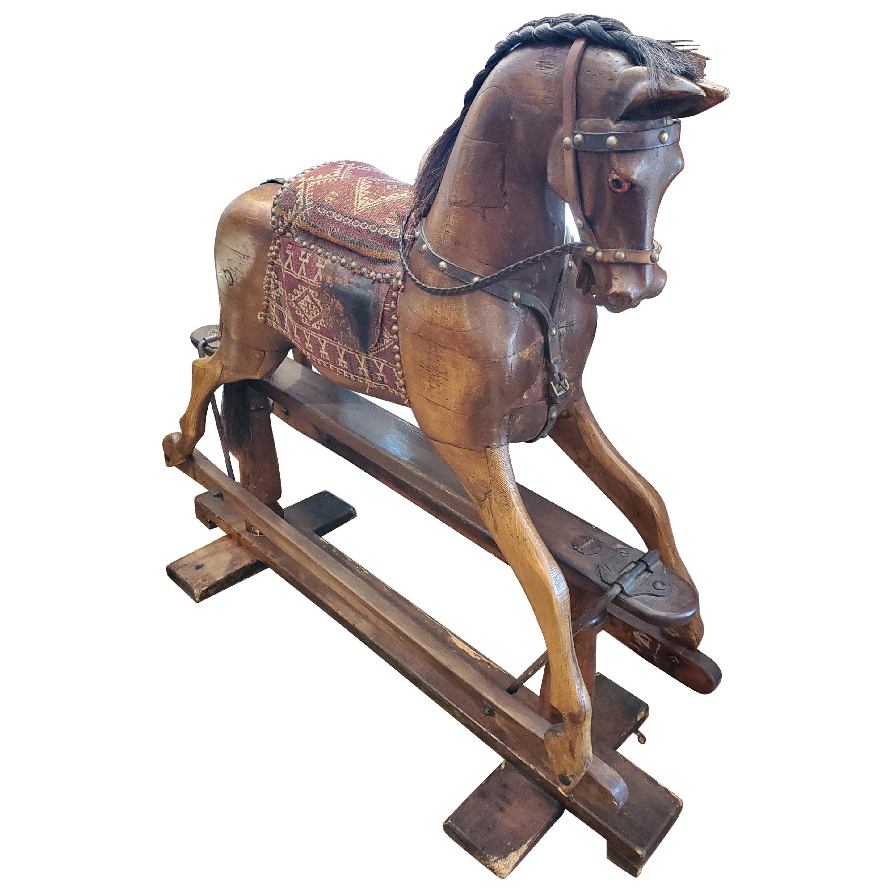 19th Century English Rocking Horse with Upholstered Saddle