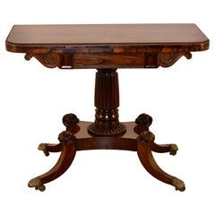 19th Century English Rosewood Game Table