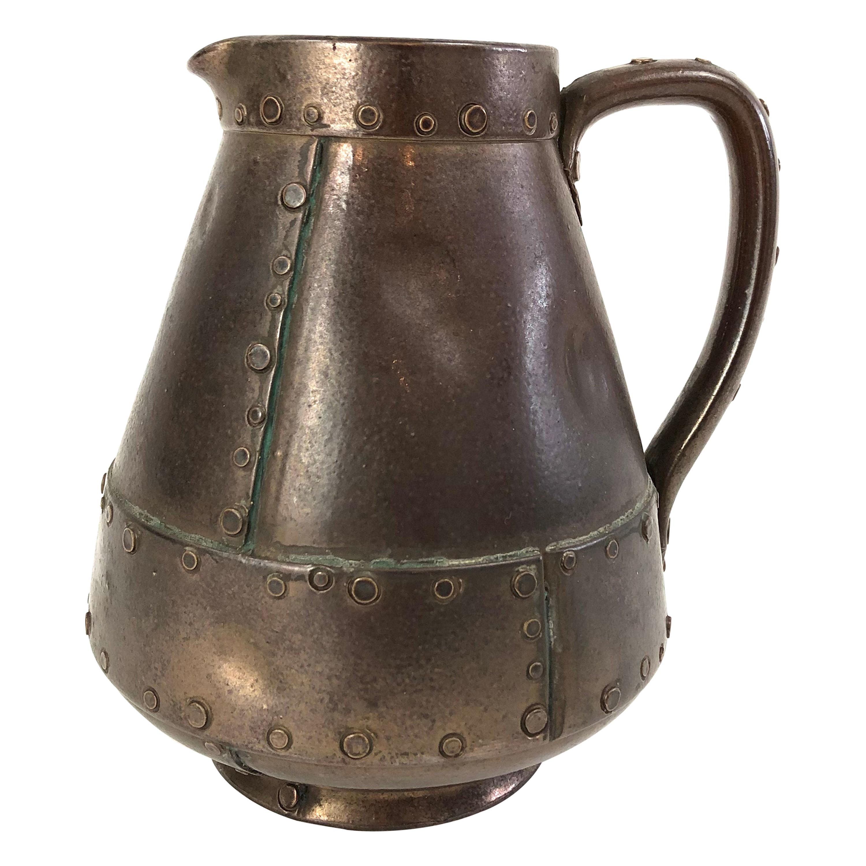 "19th Century English Royal Doulton Trompe L'Oeil ""Copper"" Pitcher in Pottery"