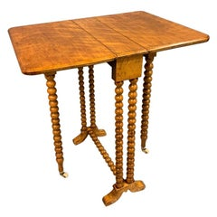 "19th Century English Satinwood and ""Bobbin"" Turned Sutherland Drop-Leaf Table"
