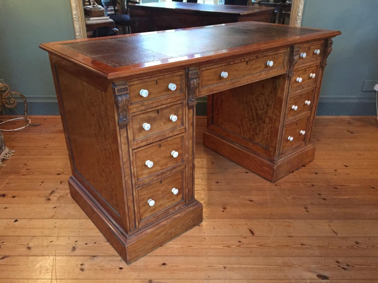 Victorian 19th Century English Satinwood Pedestal Writing Desk with Original Leather Top For Sale