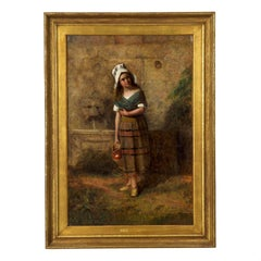 19th Century English School Antique Oil Painting of Young Girl at Wall Fountain