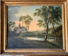 19th century English landscape with a cottage, pond, trees at sunrise or sunset