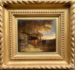 Early 19th century Antique English landscape with cows in a cowshed