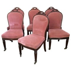 19th Century English Set of 6 Mahogany Chairs with Original Upholstery, 1890s