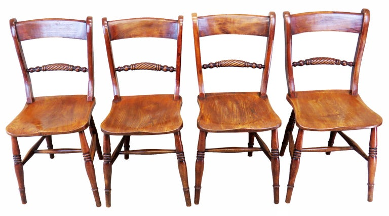 Beech 19th Century English Set of 8 Kitchen Windsor Dining Chairs For Sale