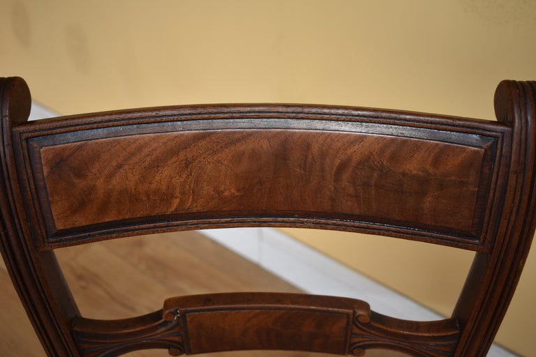 19th Century English Set of 8 Regency Mahogany Dining Chairs For Sale 1