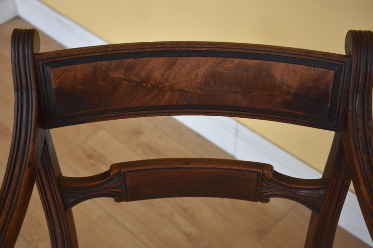 19th Century English Set of 8 Regency Mahogany Dining Chairs For Sale 5