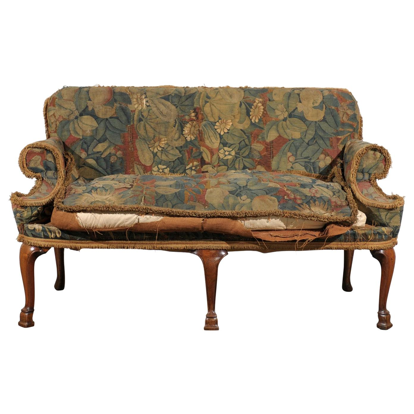 19th Century English Settee with Needlepoint Fabric