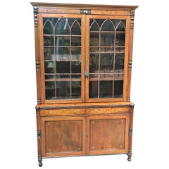 19th Century English Sheraton Mahogany Bookcase Cabinet