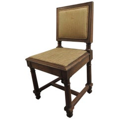 19th Century English Side Chair with Upholstered Back in Fortuny Tapa Pattern