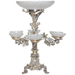 19th Century, English Silver and Crystal Figural Epergne