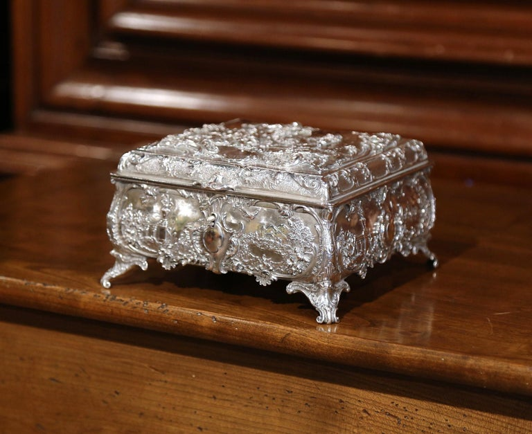 Patinated 19th Century English Silver on Copper Ornate Embossed Sheffield Jewelry Casket For Sale