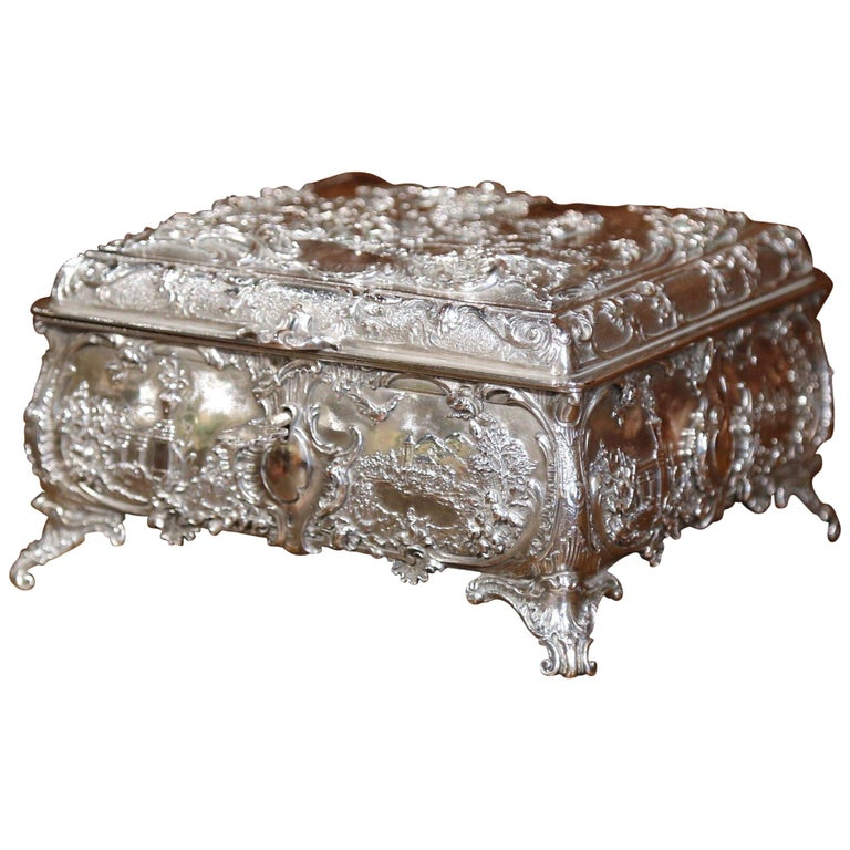 19th Century English Silver on Copper Ornate Embossed Sheffield Jewelry Casket For Sale