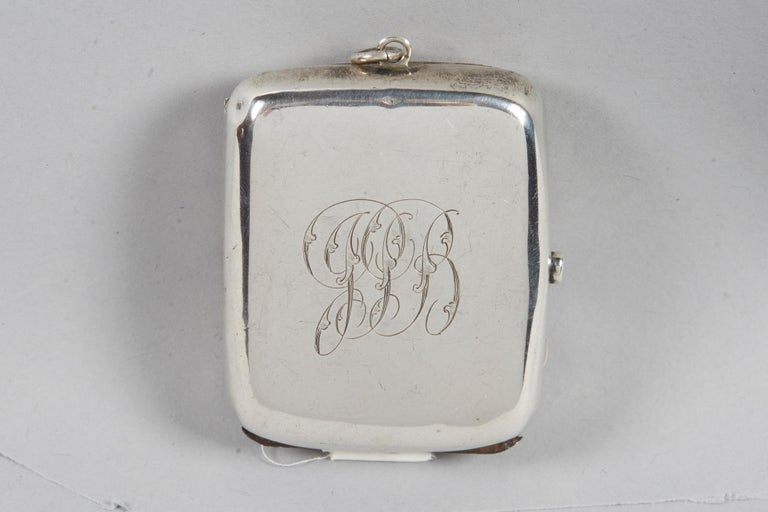 Sterling silver vesta case, pocket match safes, made in England, 1864. Engraved on the cover with Hebrew blessing for Shabbat candles: