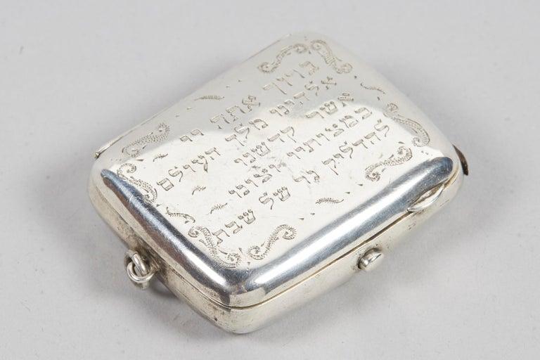 Engraved 19th Century English Silver Vesta Case, Pocket Match Safes for Shabbat Lights For Sale
